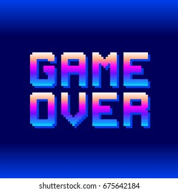 Retro Game Over Pixel Text. EPS8 Vector