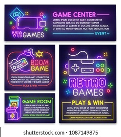 Retro game poster, flyer and banner template. Style sign neon. Virtual reality logo, emblem and label. Game room. Bright signboard, light banner.  Vector illustration.