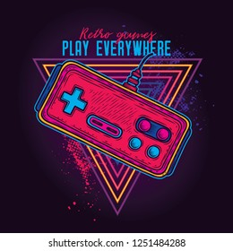 Retro gamepad from 8-bit consoles. Vector illustration in neon style.