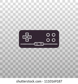 Retro gamepad, joypad, joystick - black silhouette on isolated transparent background. Old school game controller for video gaming consoles and stations - vector sign or symbol.