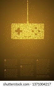 Retro Gamepad or joypad shape Particle Geometric Bokeh circle dot pixel pattern, Esports game controller design gold color illustration on brown gradient background with copy space, vector eps 10