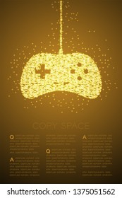 Retro Gamepad or joypad shape Particle Shiny Bokeh star pattern, Esports game controller design gold color illustration on brown gradient background with copy space, vector eps 10