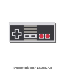 Retro gamepad, joypad, vintage controller,  input device for old video game console, vector illustration.