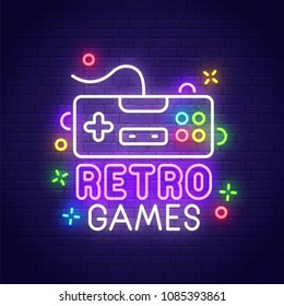 Retro games neon sign, bright signboard, light banner. Game logo, emblem. Vector illustration