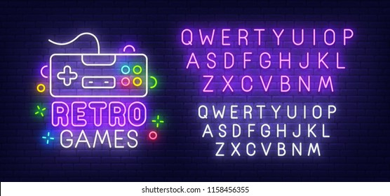 Retro Games neon sign, bright signboard, light banner. Gamer logo. Neon sign creator. Neon text edit