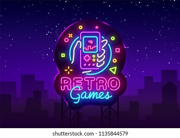 Retro Games Vector Logo. Retro geek gaming gamepad in hand neon sign, modern trend design, vivid vector illustration, promotional character games, Vintage sign. Vector Illustration. Billboard