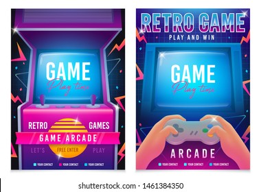 Retro gaming, Game of 80s-90s. Arcade machine. Retro arcade game machine. Play time poster, flyer template. Vector illustration
