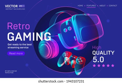 Retro gaming streaming service landing page template with VR helmet and gamepad. Outline vector illustration of headset and joystick in 3d neon line art style on abstract background