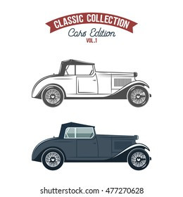 Retro gangster car (1930-40th). Car icons in flat color and monochrome style. Classic transportation vector design. Use in logo, badge, label, ingographics etc. Isolated on white background.