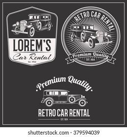 Retro gangster car rental isolated logo set emblems, badges and design elements on dark background