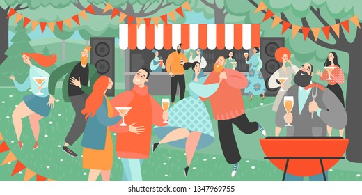 Retro garden party with people dancing and drinking wine. Cartoon characters having fun in a park at a barbecue party