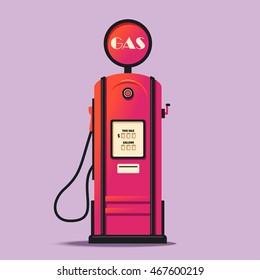 Retro gas station. Cartoon vector illustration. Vintage design. Gasoline pump