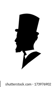 Retro gentleman face profile shape vector