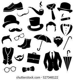 Retro gentleman fashion set - icons collection. Vector art.
