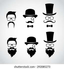Retro gentleman icon set. Vector art.