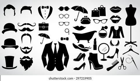 Retro gentleman and lady. Vintage fashion icon set. Vector art.