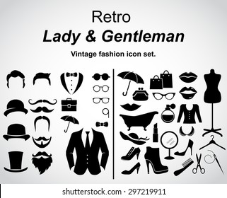 Retro gentleman and lady. Vintage fashion icon set. Vector art.