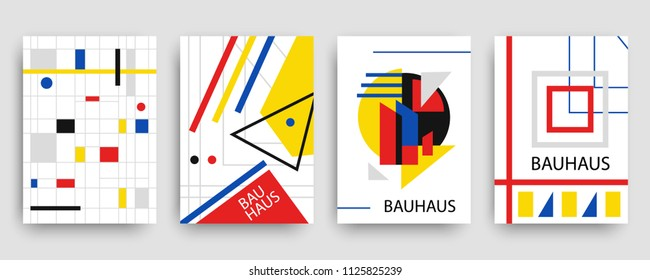 Retro geometric bauhaus, memphis covers templates set. Modern hipster brochures, banners, posters design. Vector illustration in yellow, blue, red and black colors.