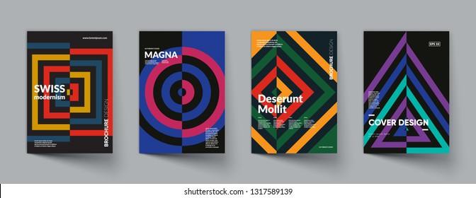 Retro geometric covers design. Swiss modernism. Eps10 vector.