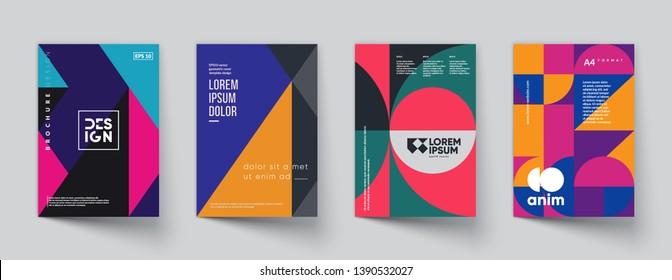 Retro geometric covers set. Swiss modernism. Eps10 vector.