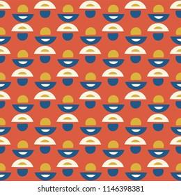 Retro Geometric Dot Vector Pattern Seamless Background, Hand Drawn Semi Circle Illustration for Trendy Home Decor, Summer Fashion Prints, Wallpaper, Kitchen Tile, Gift Wrap, Vintage Red Blue White