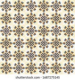 retro geometric floor tile pattern with combination of trending colors