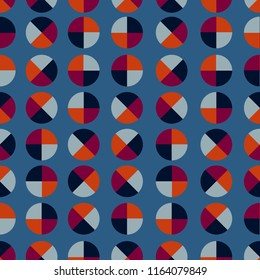 Retro geometric polka dot 4 quaters seamless pattern vector design for fashion ,fabric,wallpaper,and all prints on stylish blue background color