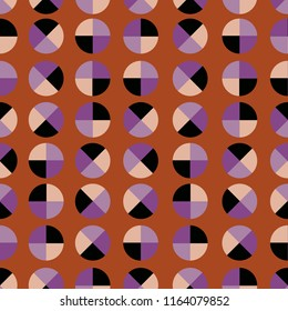 Retro geometric polka dot 4 quaters seamless pattern vector design for fashion ,fabric,wallpaper,and all prints on stylish brown background color
