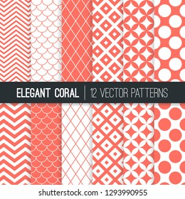 Retro Geometric Vector Patterns in Living Coral - 2019 Color of the Year. Mod Backgrounds in Purple Chevron, Quatrefoil, Jumbo Polka Dot, Diamond Lattice and Scallops. Pattern Tile Swatches included.