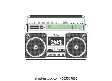Retro ghetto blaster. Detailed elements. Old retro vintage grunge. Typographic labels, stickers, logos and badges. Flat vector illustration