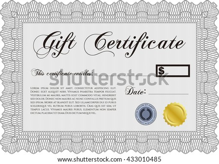 retro gift certificate template border frame stock vector royalty