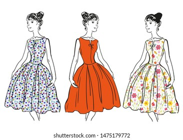 Retro girl in fashion dresses with patterns. Vector graphic illustration
