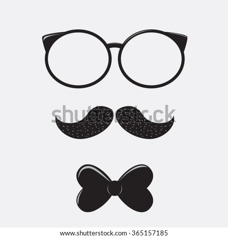 f3177af559 Retro Glasses Bow Tie Mustaches Vector Stock Vector (Royalty Free ...