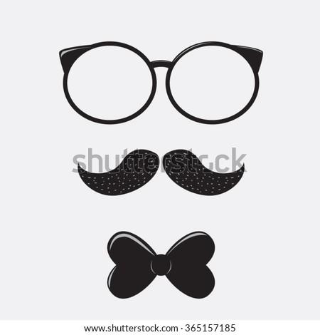 1e8c6675525 Retro Glasses Bow Tie Mustaches Vector Stock Vector (Royalty Free ...