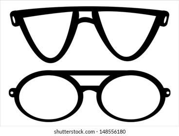 retro glasses isolated on white background