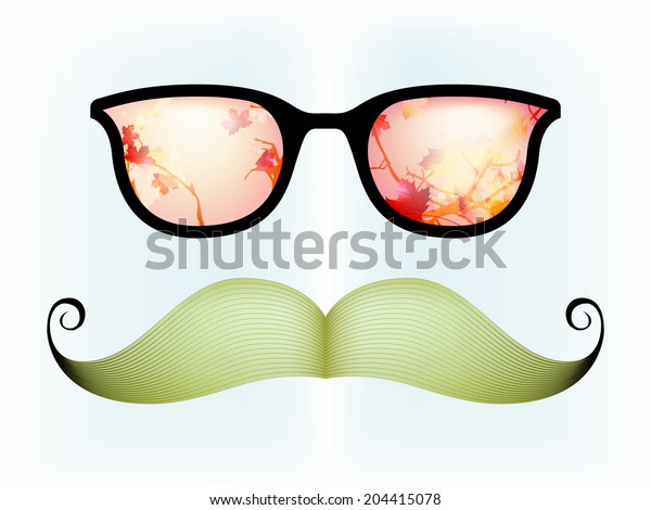 Retro glasses with reflection, autumn is coming. And also includes EPS 10 vector