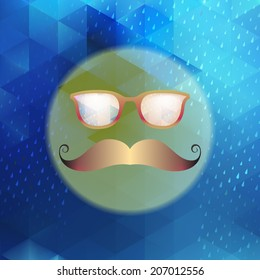 Retro glasses with reflection, Geometric shapes and rain. And also includes EPS 10 vector