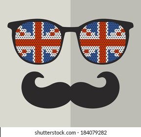 Retro glasses with reflection for hipster. Vector illustration.