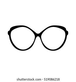 Retro glasses web UI. Sunglasses black silhouettes. Eye glasses icon app game. Vector illustration