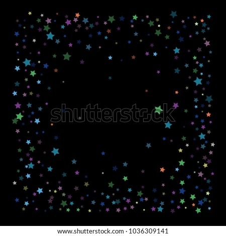 retro glitter vector stars falling down cool vintage confetti celebration border frame christmas