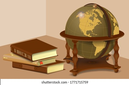 Retro globe and stack of books. Learning and travel concept in vintage style isolated on white background. Vector illustration