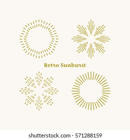 Retro gold Sun burst shape. Vintage explosion logo, label, badge. Firework design element. Old light rays radiating from a center. Retro, vintage, hipster style starburst