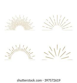 Retro gold Sun burst shapes. Vintage light starburst logo, labels, badges. Sunburst minimal logo frames. Vector firework design elements.