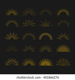 Retro gold Sun burst shapes. Vintage light starburst logo, labels, badges. Sunburst minimal logo frames. Vector firework design elements.
