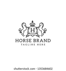 Retro golden crest with shield and two horses. Can be used as logo, emblem or banner for luxury, royal or vintage design concept. - Vector