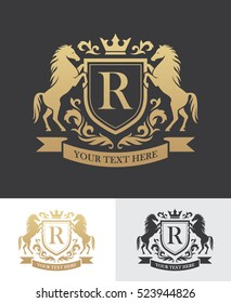 Retro golden crest with shield and two horses. Can be used as logo, emblem or banner for luxury, royal or vintage design concept.