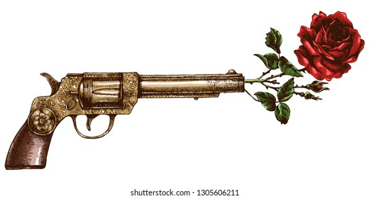 Retro golden gun and rose. Hand-drawn vector illustration with vintage revolver and blooming flower.