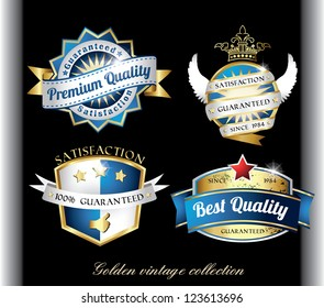 retro golden quality labels in blue color