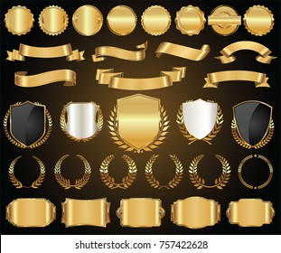 Retro golden ribbons and labels vector collection