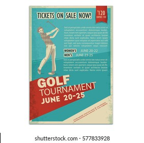 Retro golf poster or flyer  with a golf player
